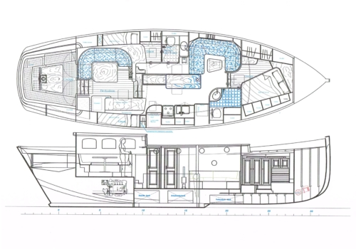 Sailing yacht Puffin 50 - schematic plan